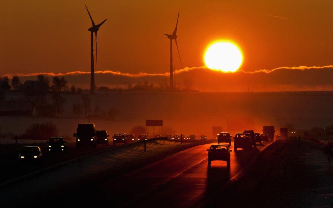 Calentamiento global automóviles puesta de sol